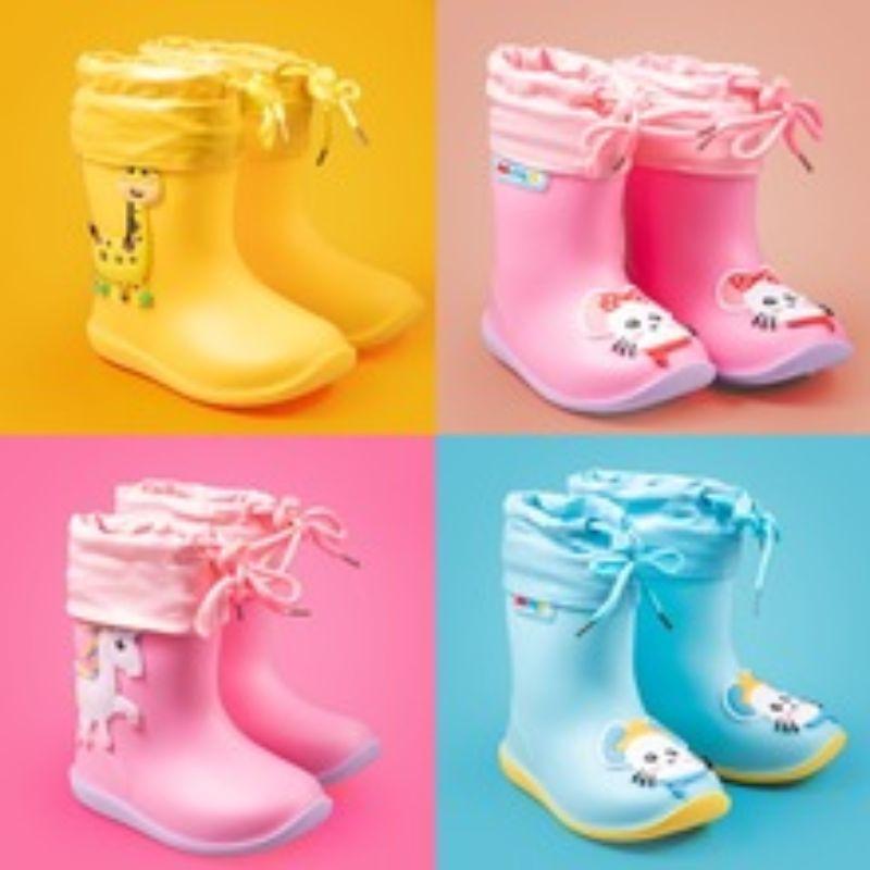 2020新款多彩儿童雨靴可爱卡通黄鸭高帮雨鞋防滑耐磨舒适雨靴