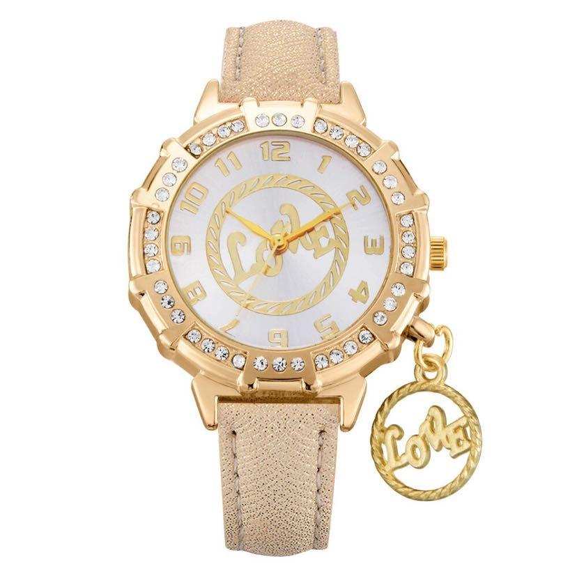 女士饰品手表镶钻石英表学生手表love挂件手表18820/40
