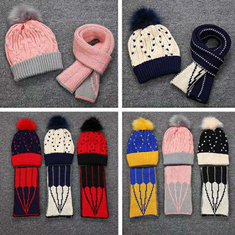 婴幼儿宝宝毛线围巾帽子套装秋冬季护耳毛线帽,条纹款