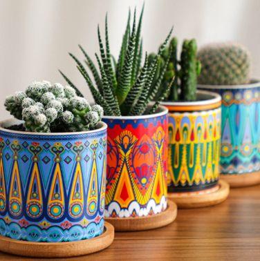 北欧风格圆柱陶瓷花盆彩色陶瓷花盆简约家居植物盆栽花盆