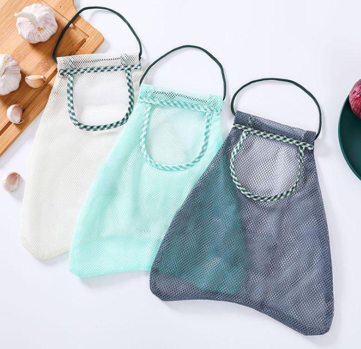创意厨房果蔬收纳网袋可挂式多用途生姜大蒜洋葱分类袋储物袋