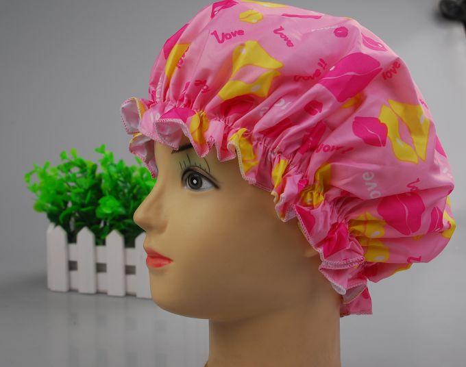 厂家直销 夏之吻双层浴帽 双层环保PVC防水浴帽 旅行便捷浴帽