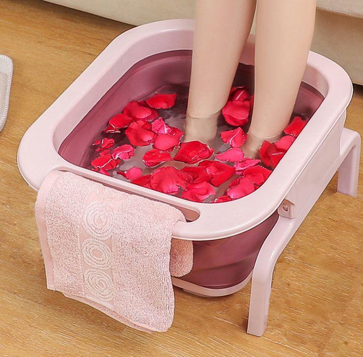 可折叠滚轮按摩洗脚盆 祛湿驱寒泡脚桶 养生足浴盆泡脚盆跨境爆款