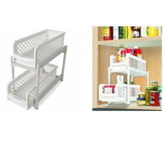 厨房浴室摆放架 portable 2-tier basket drawers 置物架