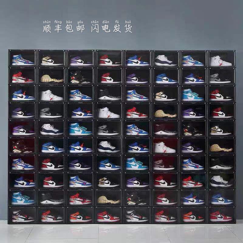 透明鞋盒球鞋收纳盒塑料篮球鞋柜球鞋收藏展示柜省空间装鞋神器