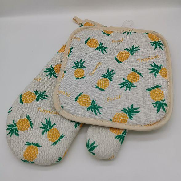 微波炉烤箱隔热手套隔热垫两件套袋装厨房烘培用品耐高温单面花色