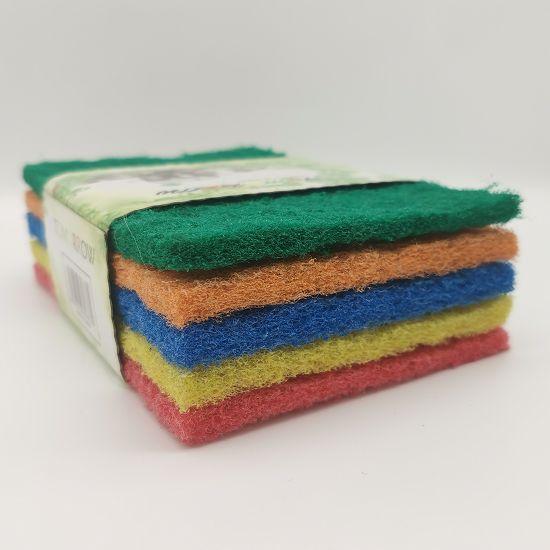彩色百洁布5片套卡洗锅洗碗厨房清洁布清洁刷百洁刷厨卫清洁用品FW-5刷锅布