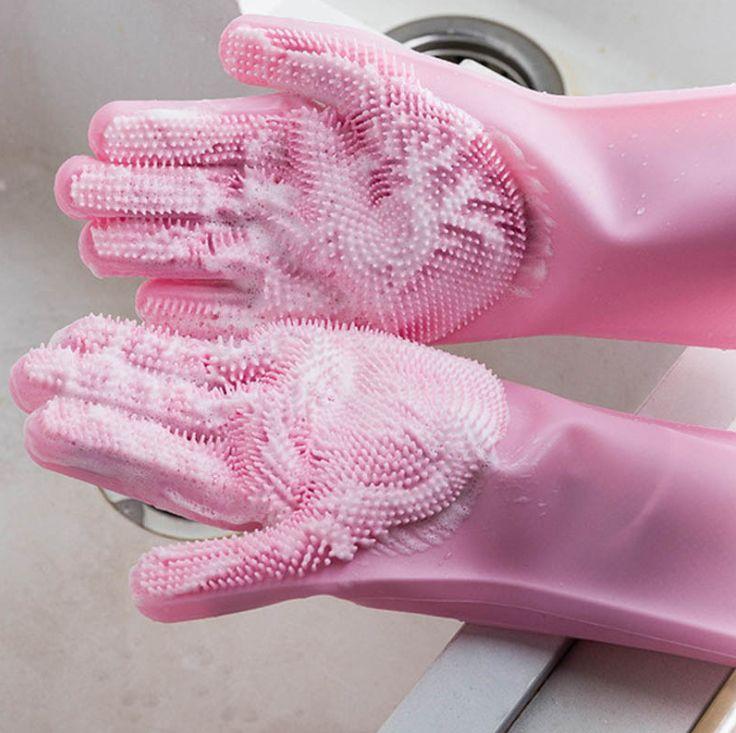 硅胶洗碗手套防水防烫冬天魔术家用清洁刷碗神器厨房多用男女锅刷