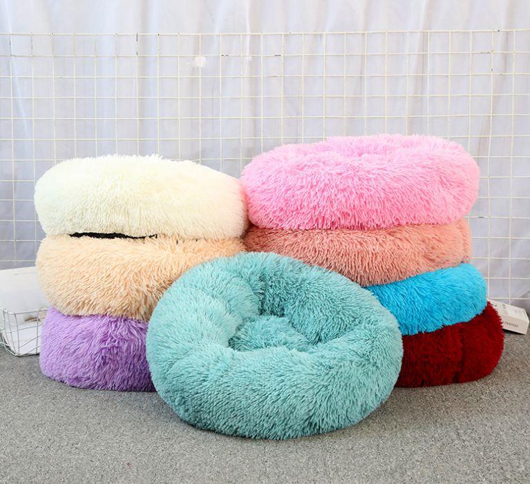长毛绒猫窝狗窝宠物窝可拆洗圆形宠物床狗床冬季保暖猫垫宠物垫子