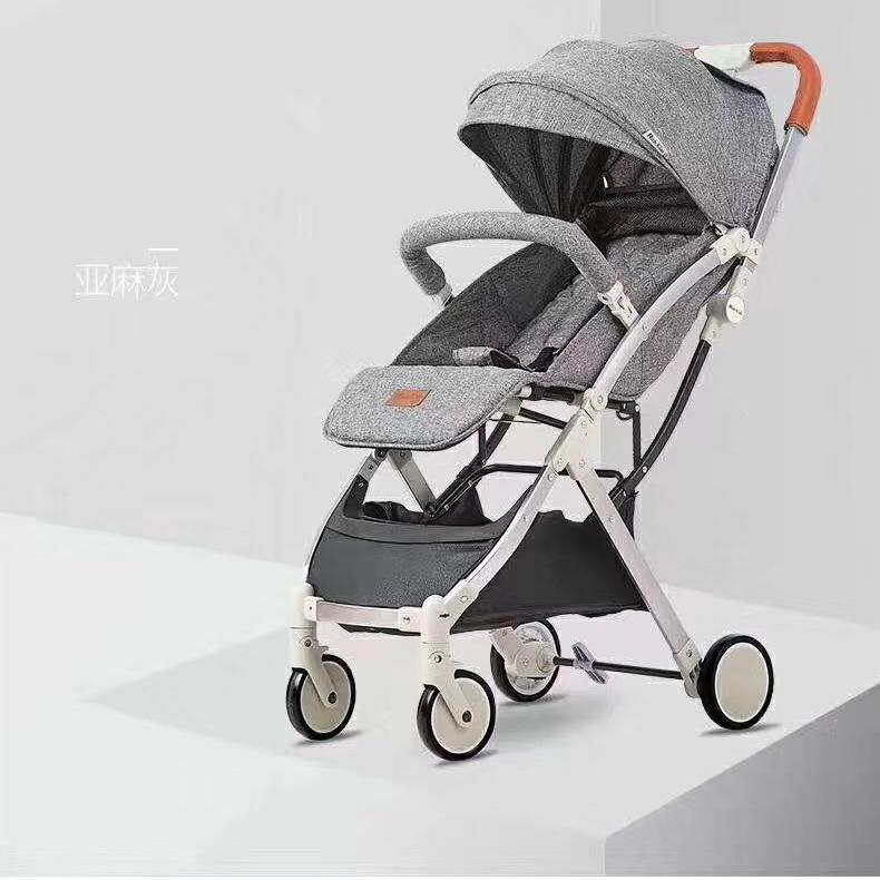 铝合金婴儿推车可躺可坐带拉杆一键折叠后可直接带上飞机宝宝车