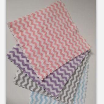 波浪纹珊瑚绒加厚多功能厨房清洁布