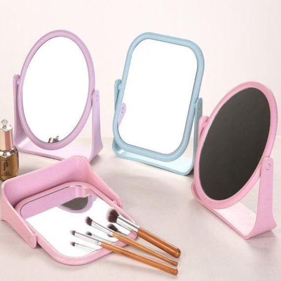 欧式桌面化妆镜子台式梳妆镜桌面旋转镜简约双面化妆镜工厂现货