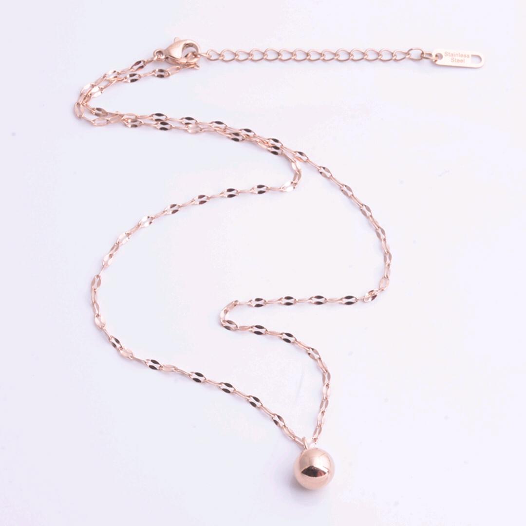 简约个性圆珠圆球项链钛钢镀18k金色玫瑰金锁骨链唇链不褪色女百搭