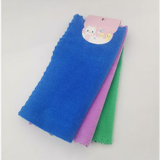珊瑚绒清洁抹布平绒抹布3条订卡厨房清洁洗碗巾吸水性好擦桌子布