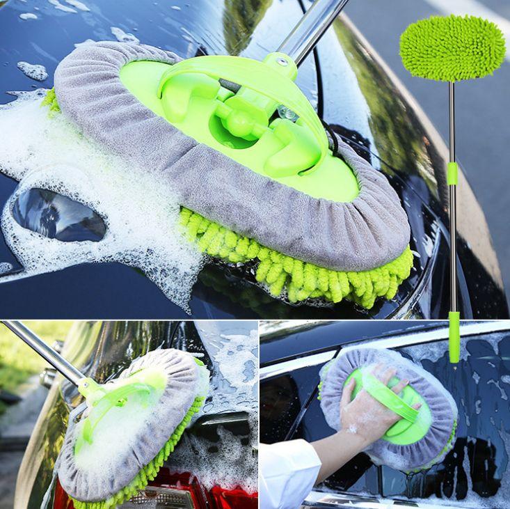 雪尼尔三节蜡刷 车载蜡掸子 汽车雪尼尔清洗刷车用可伸缩清洁刷