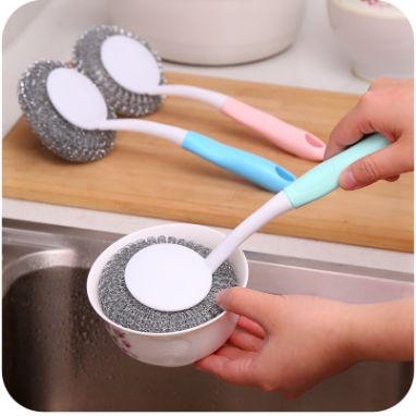 厨房清洁不沾油不锈钢丝球刷长柄洗锅刷除油刷带手柄清洁球刷子