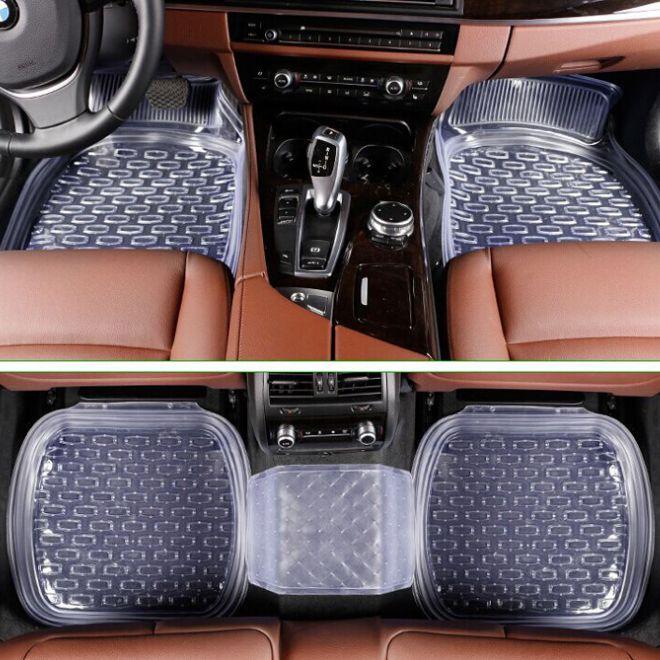 车用透明pvc脚垫 5片装车载防滑通用型脚垫 盆式防滑车用汽车脚垫