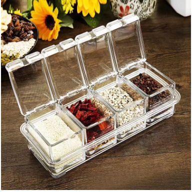 厨房用品透明亚克力调味盒四格调料盒四合一带勺子调料罐套装