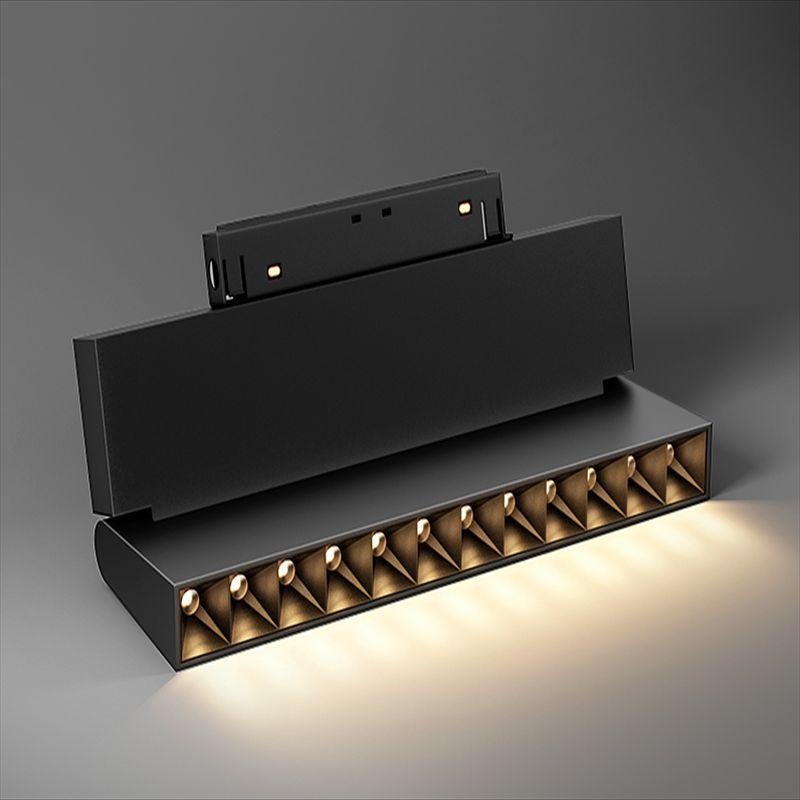 LED黑色磁吸折叠射灯 无边框12W线条射灯酒店客厅格栅灯轨道灯