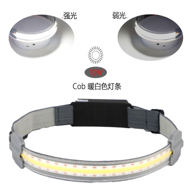 热销USB充电COB头灯带 户外轻巧便携夜间照明灯 头戴式骑行照明装备