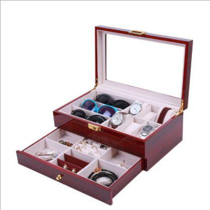 红色喷漆6位手表+3位眼镜双层首饰盒