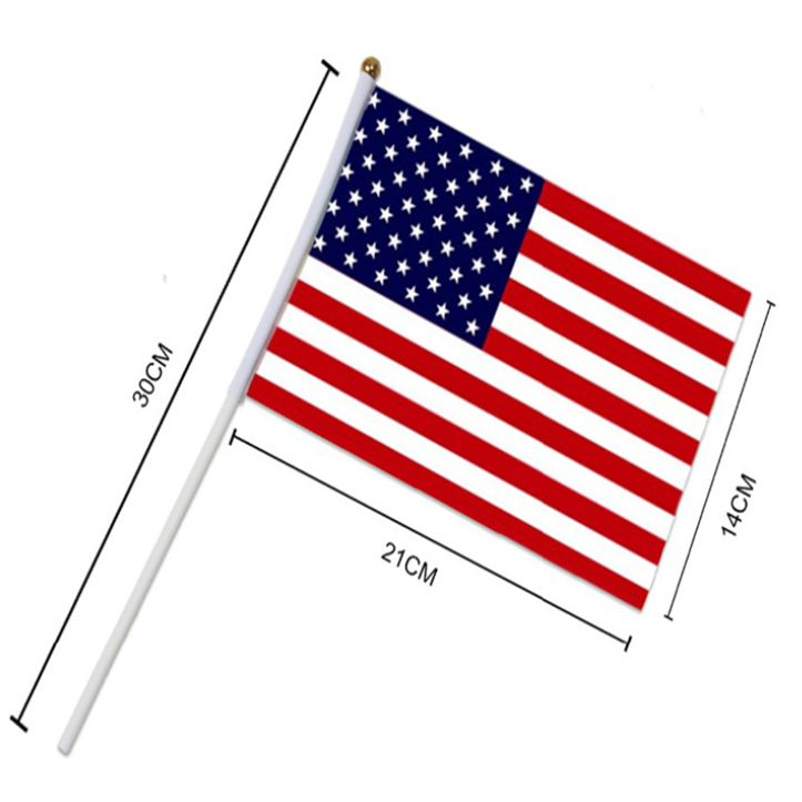 8号美国手摇旗美国国旗定制14*21cm美国旗帜2