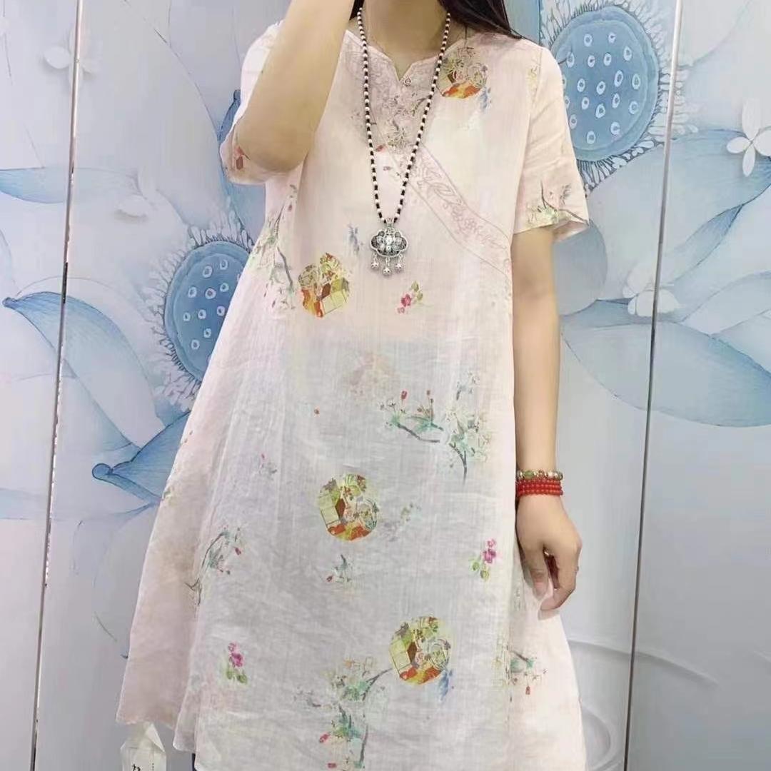 苎麻刺绣连衣裙