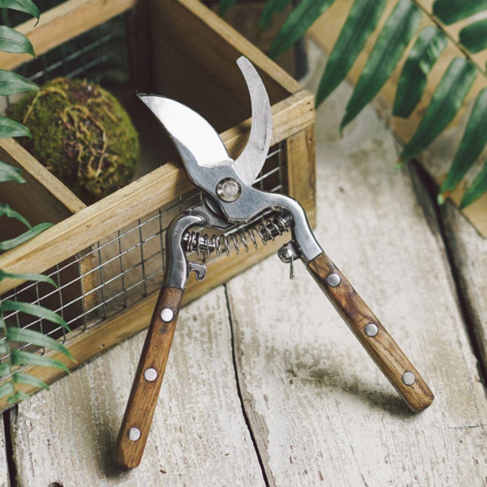 水曲柳木柄修枝剪花艺园林果树修剪树枝修花剪刀省力家用园艺工具