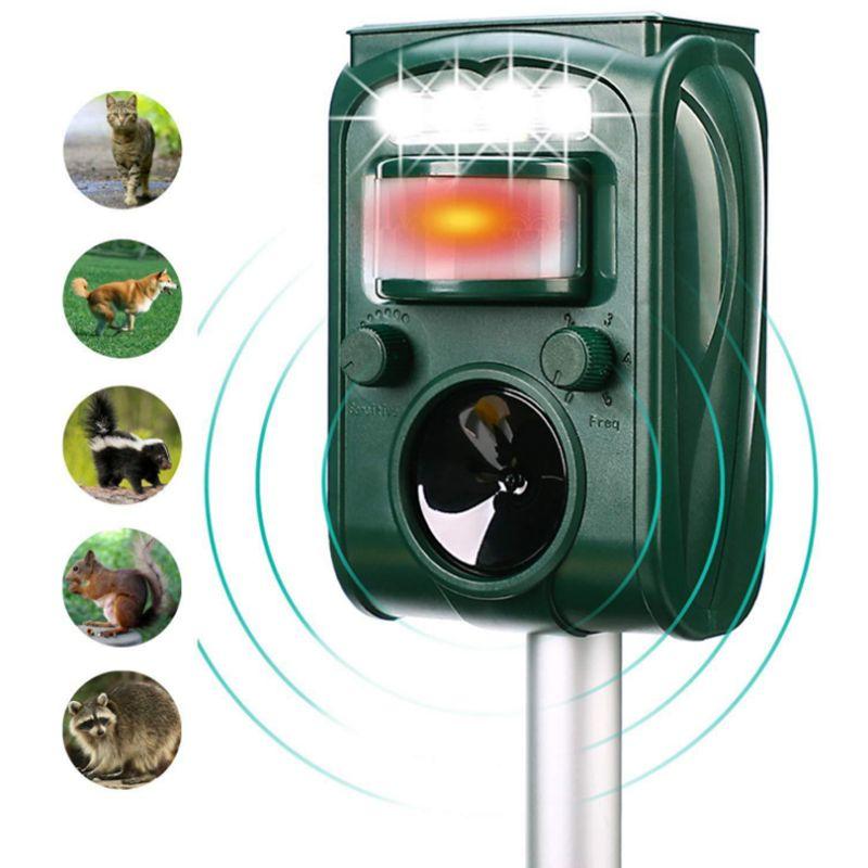 多功能太阳能超声波驱鼠器动物驱赶器红外灯光爆闪驱鸟驱狗器声光驱鸟器