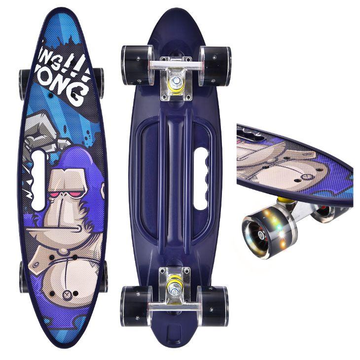 新款手提小鱼板22寸塑料香蕉板闪光轮儿童成人四轮男女滑板skateboard