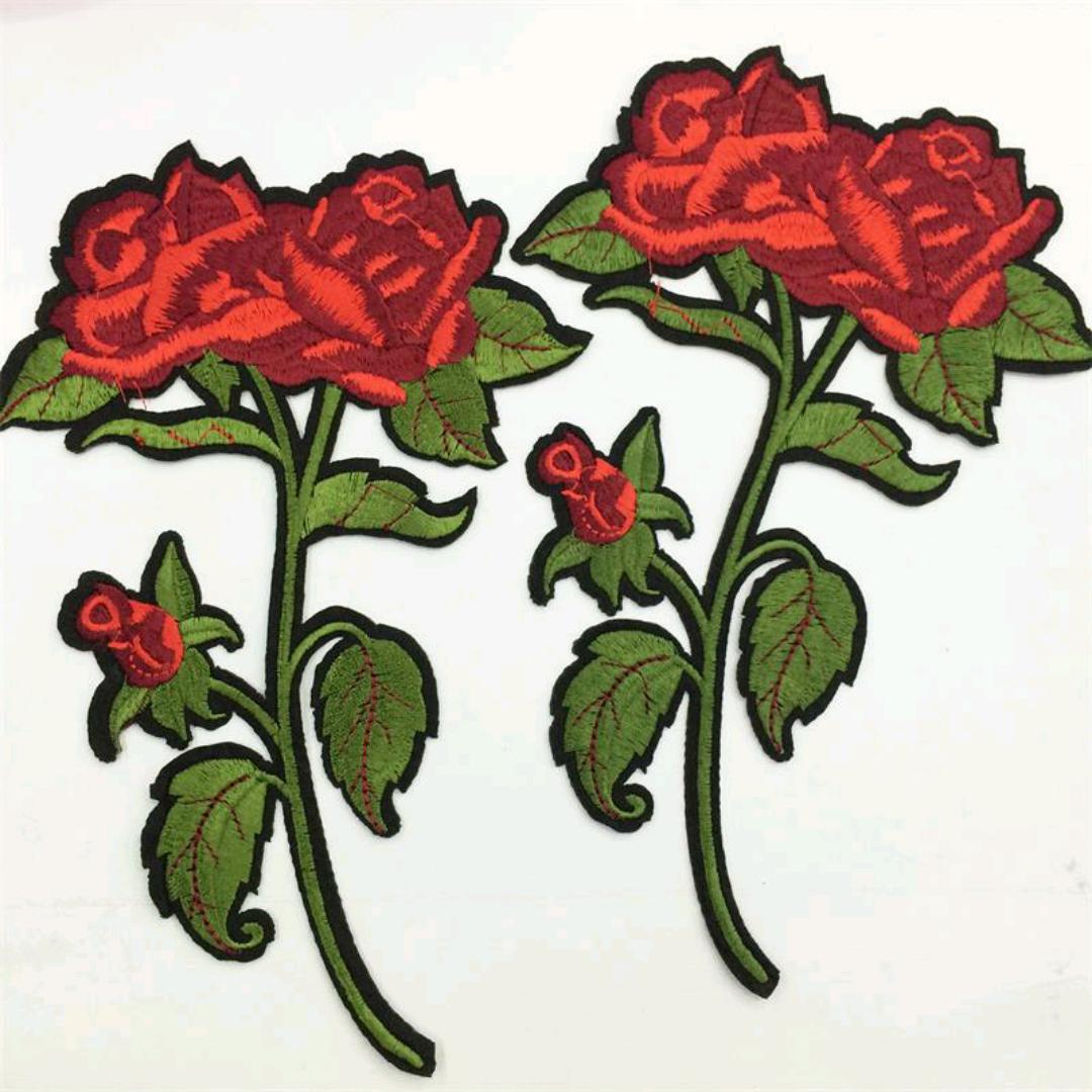 服装辅料刺绣玫瑰花布贴四色线绣布贴