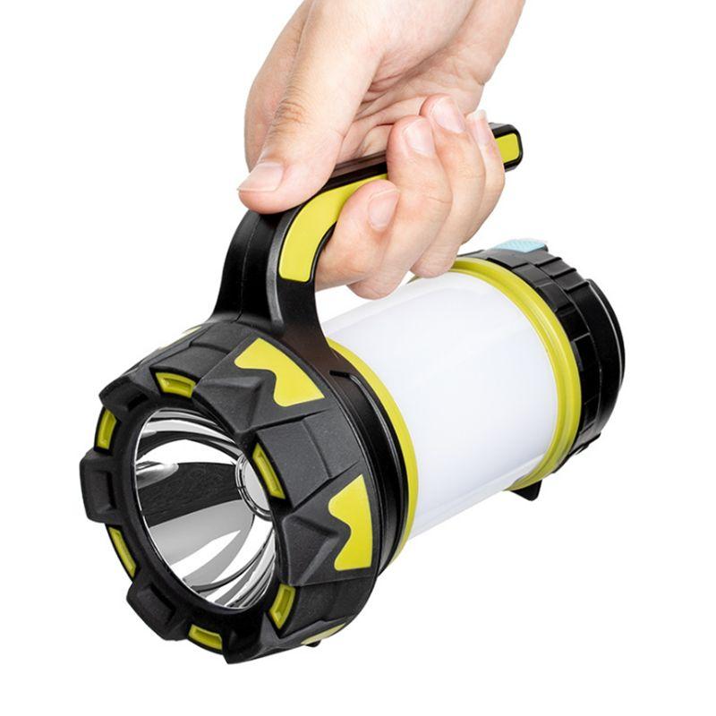 USB充电多功能手提灯探照灯  带红光警示灯 可给手机充电多功能户外野营应急灯
