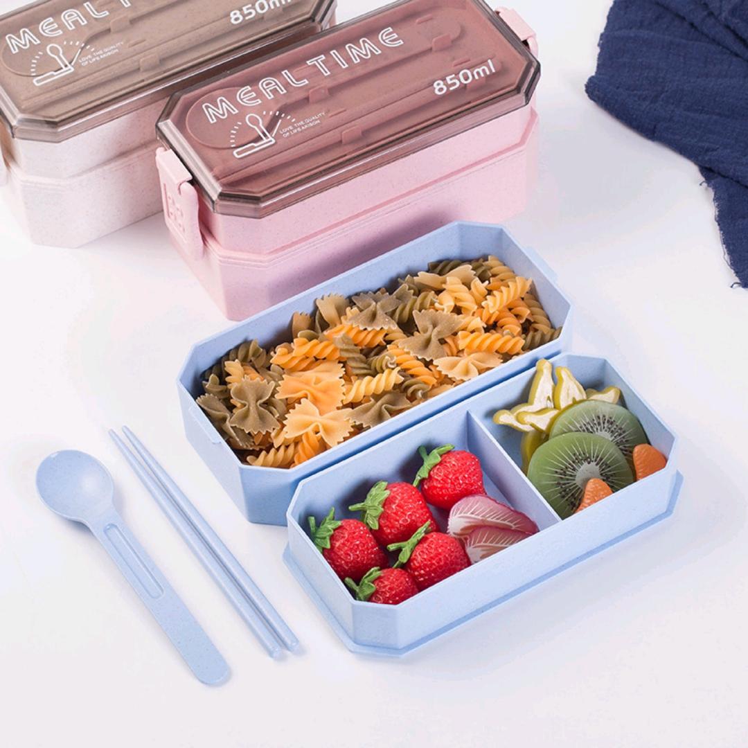 S42-2521创意日式秸秆双层饭盒便当盒餐具套装餐盒加热健身饭盒