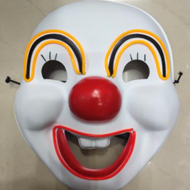 冷光线发光带灯双色小丑面具