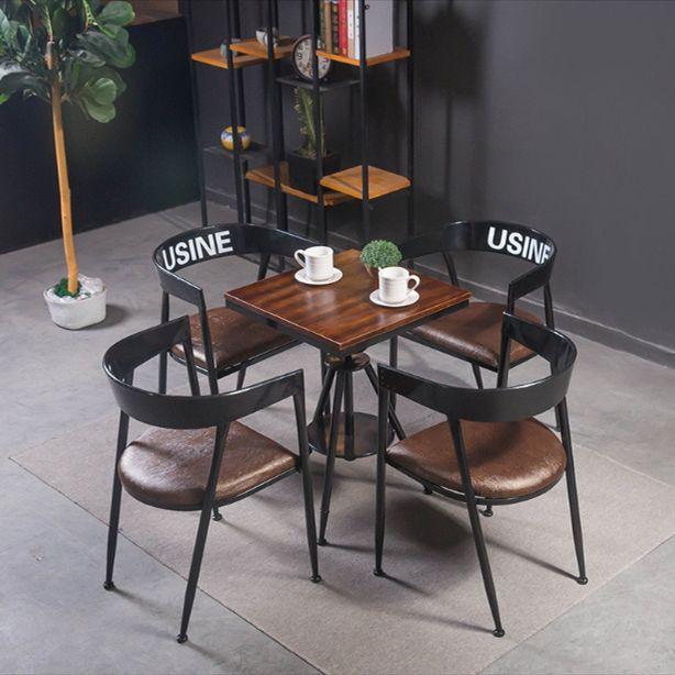 吕字家具-美式复古餐桌椅组合咖啡冷饮奶茶店工业风酒吧可升降圆桌