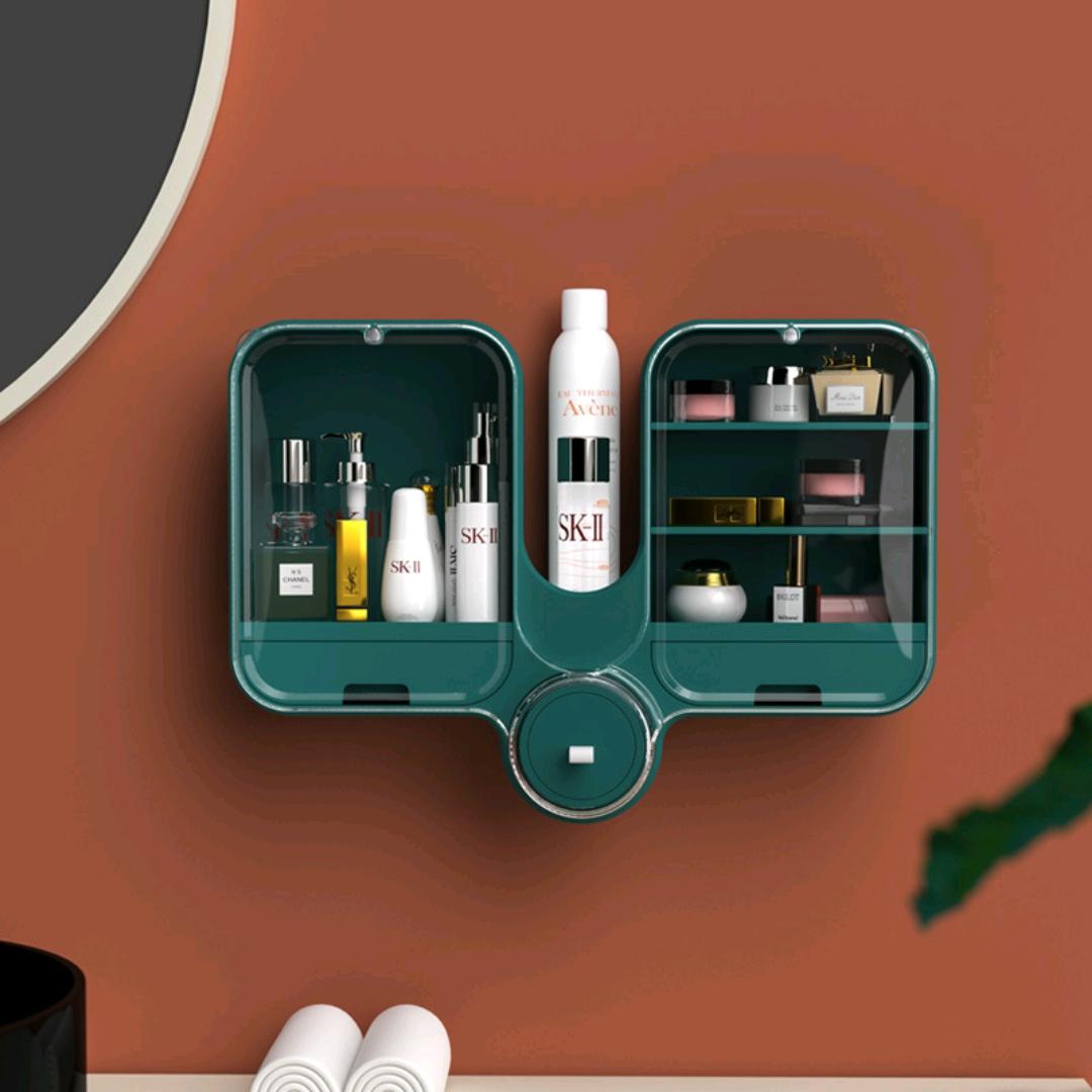 S63-3652挂壁式旋转双开化妆品盒 可调整化妆品收纳盒 分格收纳盒
