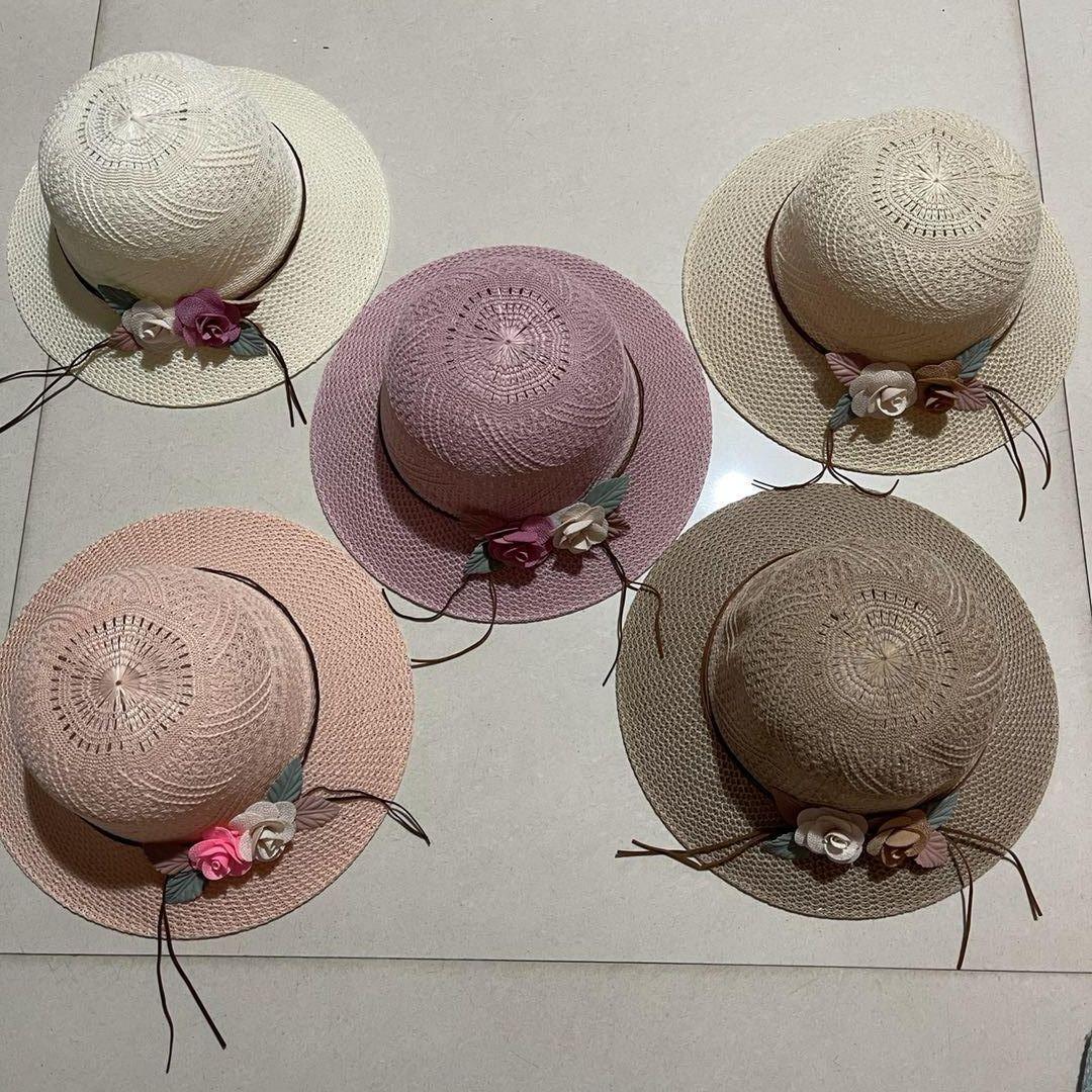 女帽沙滩帽休闲遮阳针织帽子双色花