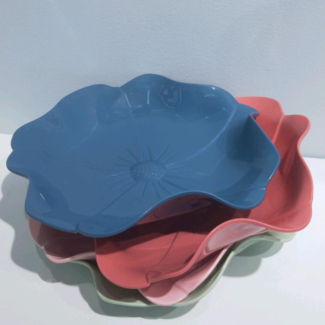 F02-911时尚家用干果果盘 塑料花型防滑果盘家用茶几瓜果零食盘