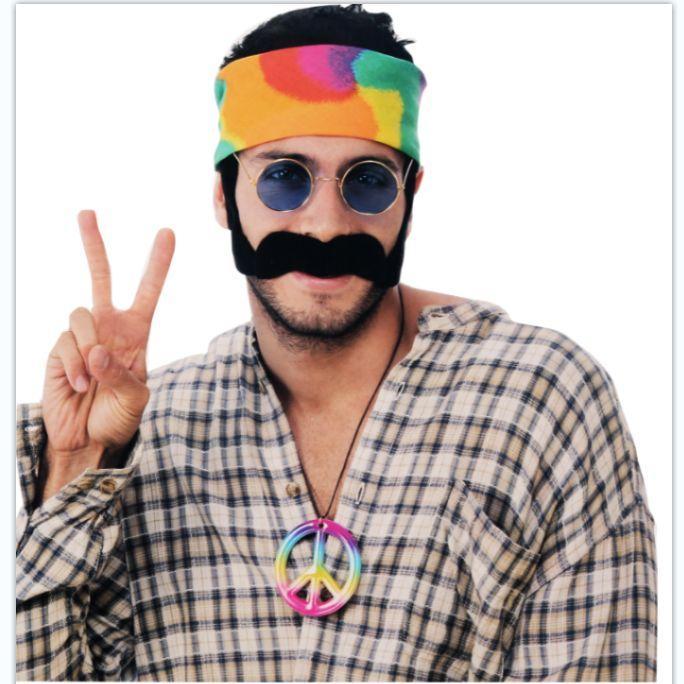 男人方巾眼镜胡子套装和平项链四件套化妆舞会套装