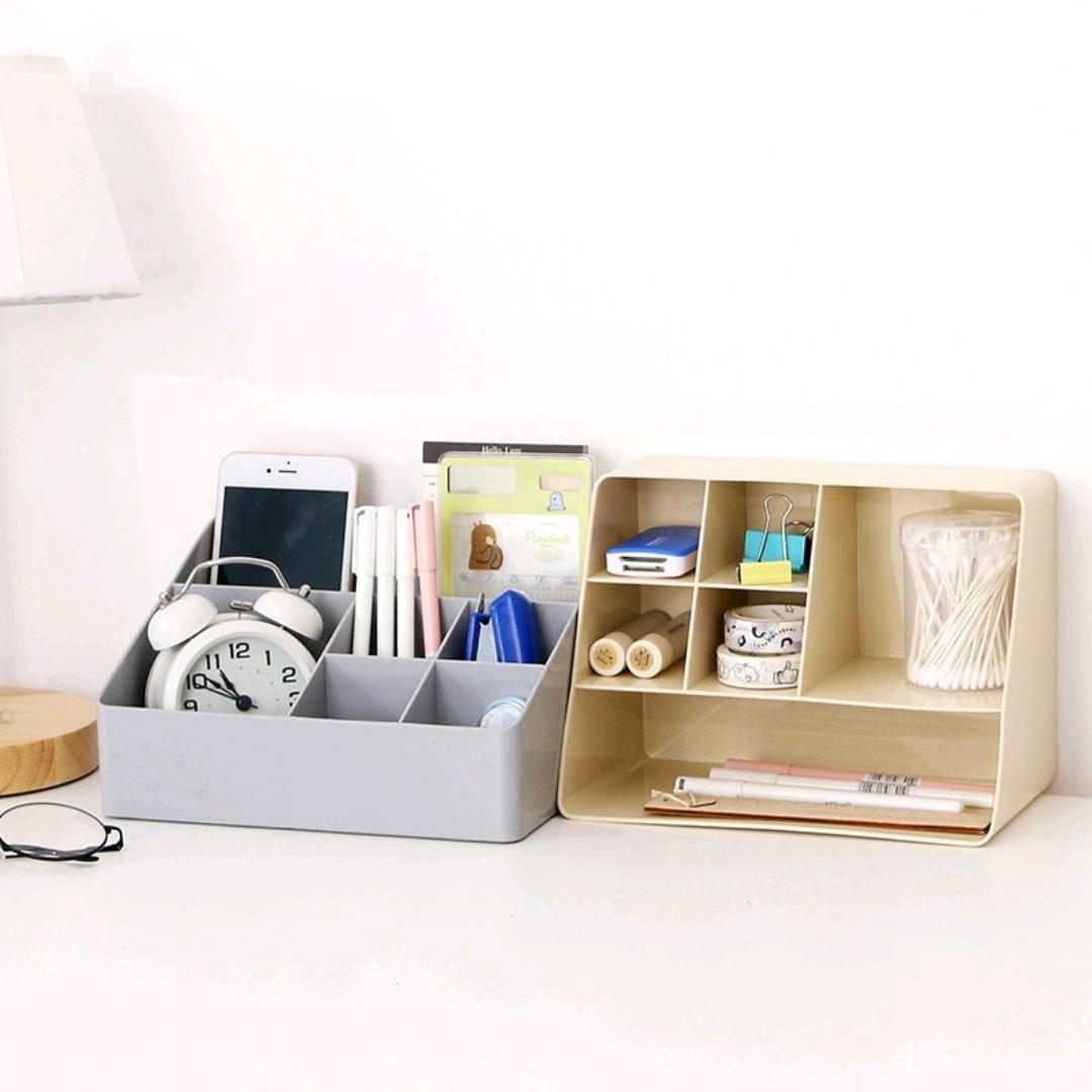 J52-6420桌面收纳盒家用客厅遥控器储物盒办公多格化妆品收纳盒子