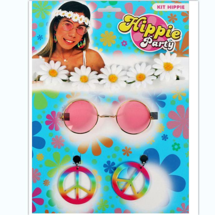 太阳花头戴眼镜和平耳环三件套化妆舞会套装
