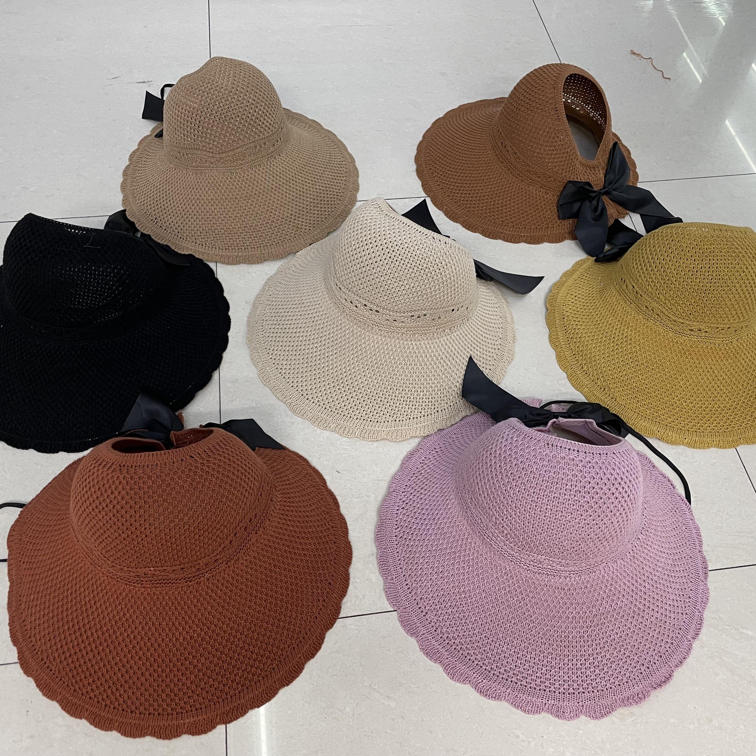 卷卷帽空顶防晒女士遮阳沙滩休闲针织帽子小花边
