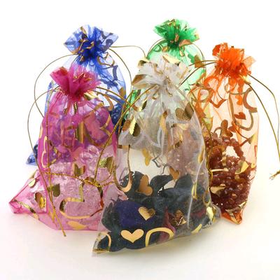 1宝兰桃心袋厂家直销大量现货烫金印花礼品欧根纱袋 抽绳束口糖果饰品包装袋