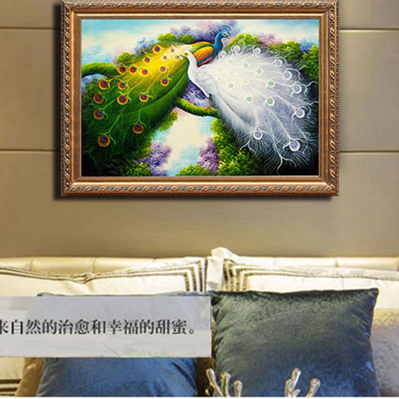 动物孔雀家居喷绘装饰挂画 欧式客厅书房酒店装饰挂画